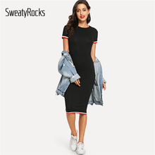 SweatyRocks Striped Trim Tee Dress Streetwear Round Neck Women Casual Clothes 2019 New Spring Summer Bodycon Long Dress цена 2017