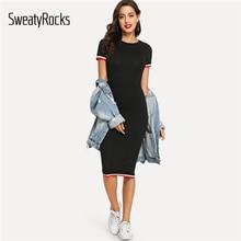 цена на SweatyRocks Striped Trim Tee Dress Streetwear Round Neck Women Casual Clothes 2019 New Spring Summer Bodycon Long Dress