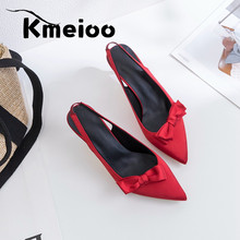 Kmeioo New Spring Summer Fashion Sexy Big Bow Pointed Toe High Heels Sandals Shoes Woman Ladies Wedding Party Pumps Dress Shoe