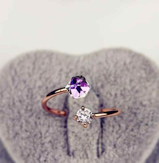 คลาสสิกหมั้นแหวนลูกบาศก์รูปทรงสี Cubic Zircon หญิงแหวนแต่งงาน CZ แหวนเครื่องประดับ