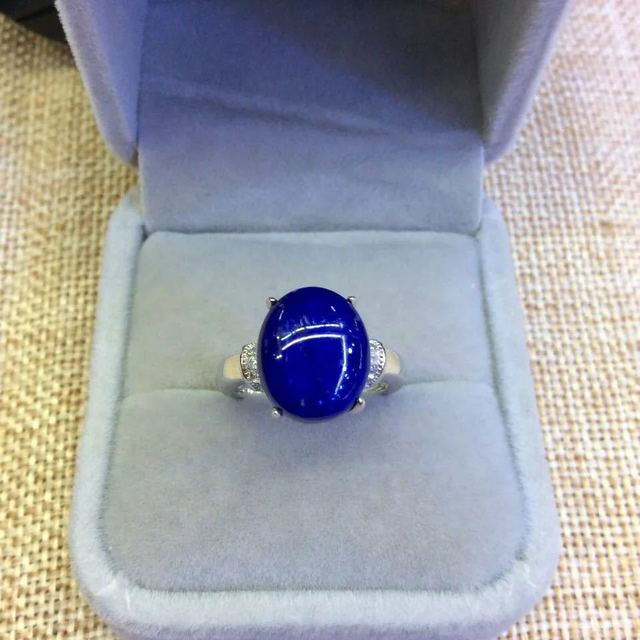 Retro Silverware S925 Sterling Silver Inlaid Natural Afghan Lapis Lazuli Exquisite Simple Open Ended Ring
