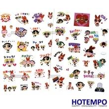 HOTEMPO पावरपफ गर्ल्स स्टिकर कार्टून टीवी पीवीसी पनरोक बच्चे DIY पत्र डायरी स्क्रैपबुकिंग Pegatinas स्टिकर