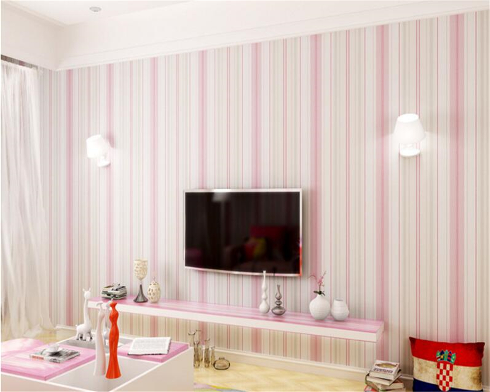 beibehang Mediterranean blue striped 3d wallpaper non-woven bedroom pink living room background wall papel de parede wall paper beibehang papel de parede retro classic apple tree bird wallpaper bedroom living room background non woven pastoral wall paper