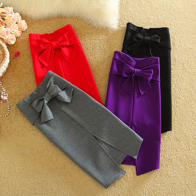 Women 2017 Spring Cotton Solid Pencil Skirts High Waist Criss-cross Bow Skirts Lady Fashion Work Wear and Party Faldas Saia Jupe
