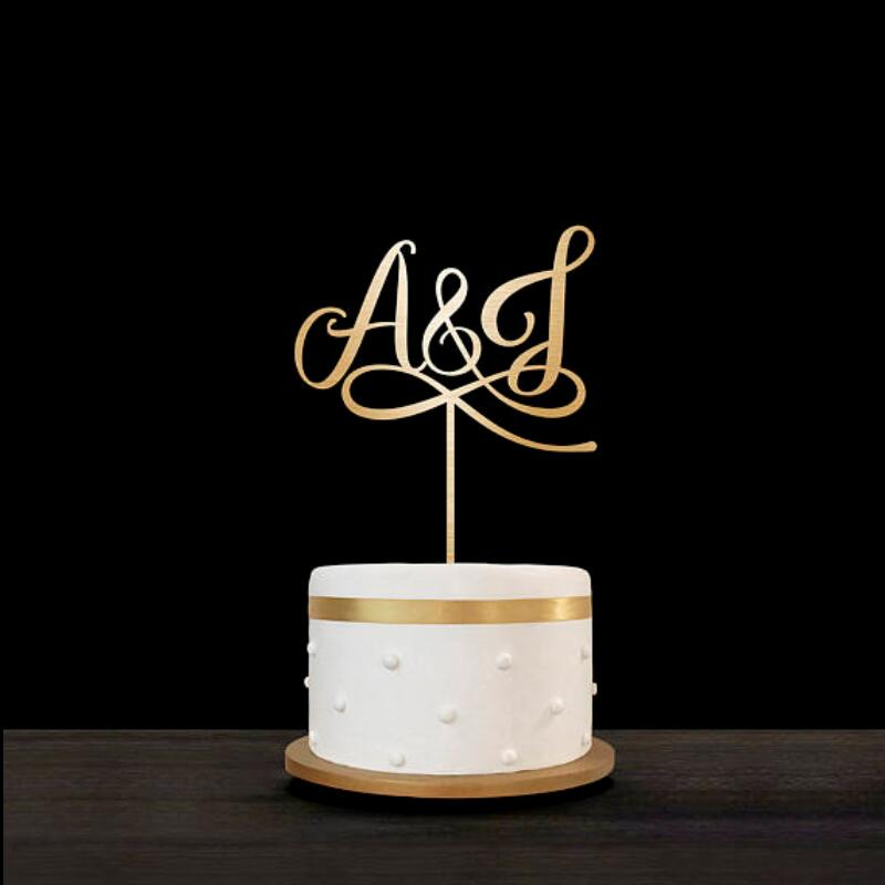 Personalized Acrylic wood Wedding Personalized Rustic Arrow Cake Topper Last name Initials Cake Topper Free Shipping