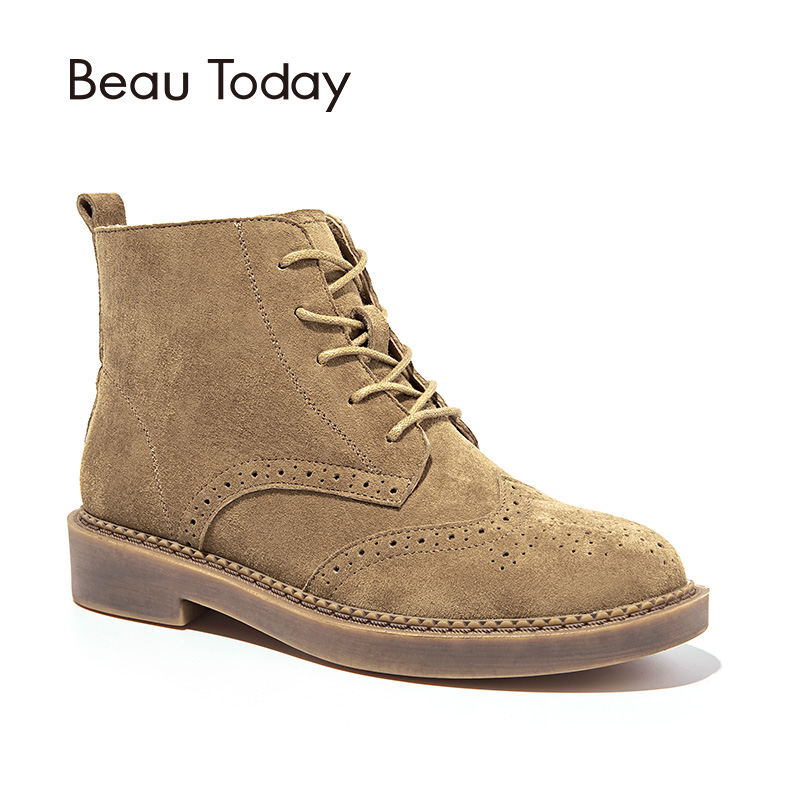 BeauToday Martin Boots Women Brogue Style Genuine Leather Pigskin Suede Handmade Lace Up Ankle Boot Brand Lady Shoes 04017 krusdan british style brand man handmad semi brogue shoes genuine leather round toe lace up men s cowboy martin ankle boots nk56