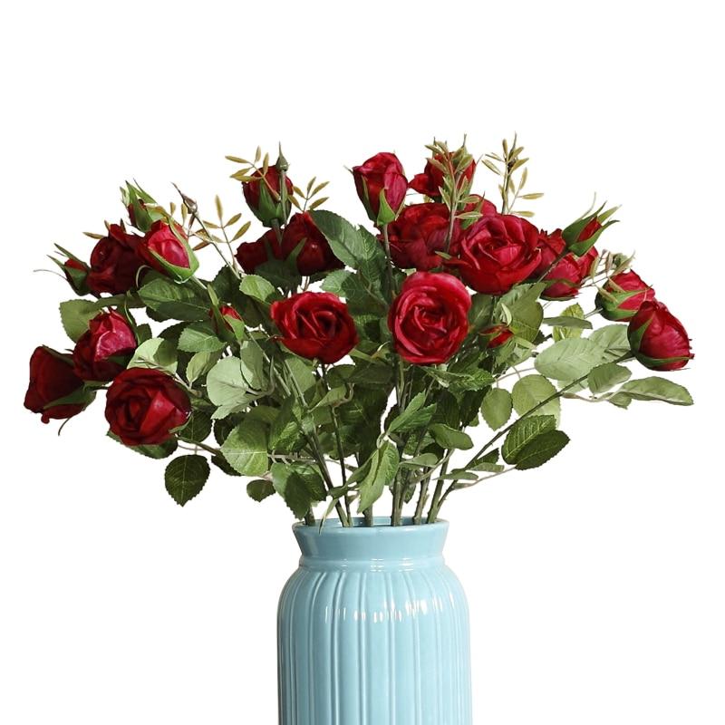 5 cabezas Red Rose Spray Table Decorativo Rose Flower Artificial - Para fiestas y celebraciones
