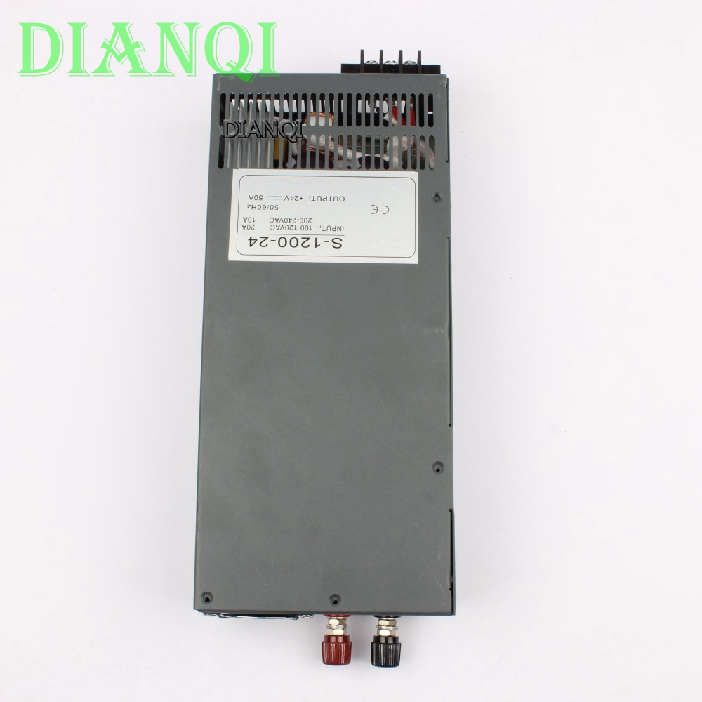 DIANQI S-1200-24 1200W 24V 50A Switching power supply for LED Strip light AC to DC suply input 110v 220v 1200w ac to dc led driver 1200w 24v 0v 26 4v 50a single output switching power supply unit for led strip light universal ac dc converter