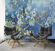 Custom 3d murals flowers and birds orchid TV background wall decoration painting wallpaper mural photo wallpaper 3d wallpaper artistic osmanthus tree hd hand painted flowers and birds wallpaper murals home decoration custom photo wallpaper