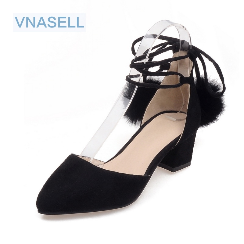Vnasell new  women shoes  sandal Pointed Toe pumps sexy gray Lace-Up high heels zapatos mujer size 32-48 2017 new ivory sexy wedding bridal shoes women pointed toe stiletto super high heels chain lace lady pumps zapatos mujer 0640 f5