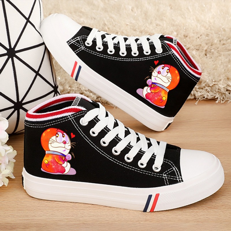 Funny print Doraemon Spider Superman Cartoon Womens Fashion Casual Shoes Lace-up High Canvas Girlfriend Gift