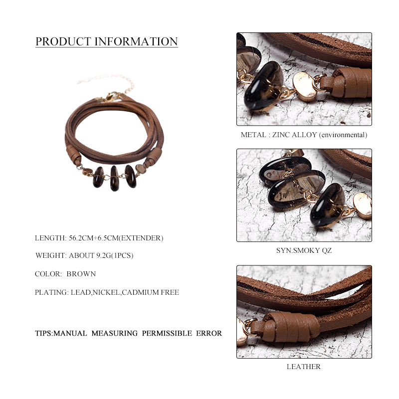 Leather Natural Stone Pendant Bracelet 1