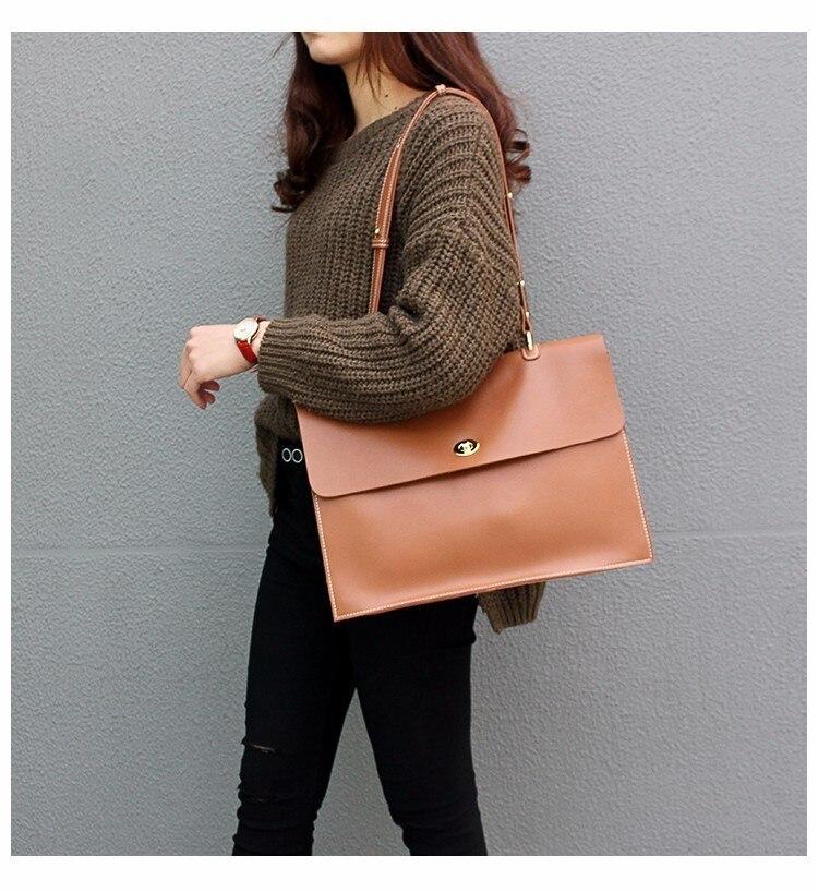 Voyage d'affaires paquet femmes véritable mallette en cuir sac à bandoulière grande capacité sac de travail - 6