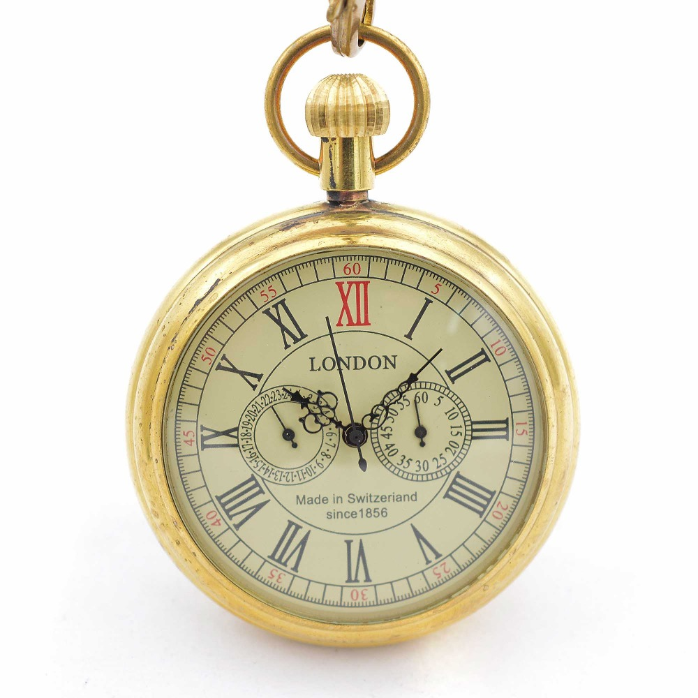 1856 Pure Cooper 3 Dials Skeleton Wind Up Mechanical Mens Pocket Watch W/Chain Nice Gift Wholesale Price H036