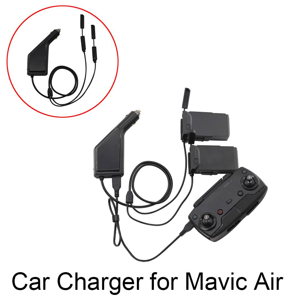 Portable Car Charger for DJI Mavic Air Drone Battery Remote Controller with USB Port 2 Battery Port 12V Outdoor Vehicle ChargerPortable Car Charger for DJI Mavic Air Drone Battery Remote Controller with USB Port 2 Battery Port 12V Outdoor Vehicle Charger