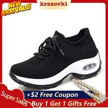 Krasovki Platform Sneakers Women Thick knit Platform Breathable Lace Up Flatform Designer Shoes for Female Casual Walking Shoe lace up flatform mesh sneakers
