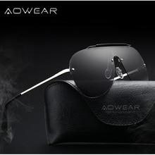 AOWEAR Cool Mens Polarized Oversized Sunglasses Men Rimless