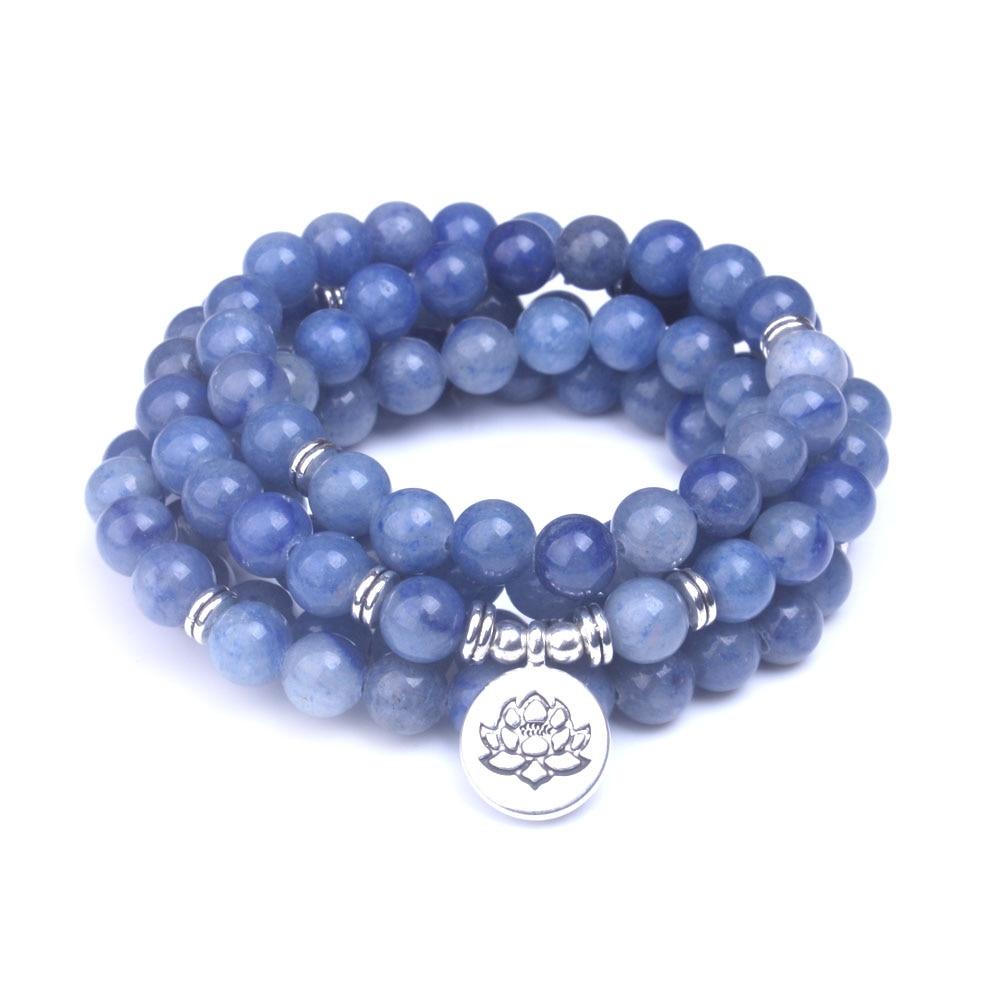Smooth Blue Aventurine stone beads 108 mala Bracelets Natural Stone With Lotus, Buddha, Om Charms Women Men Meditation jewelry
