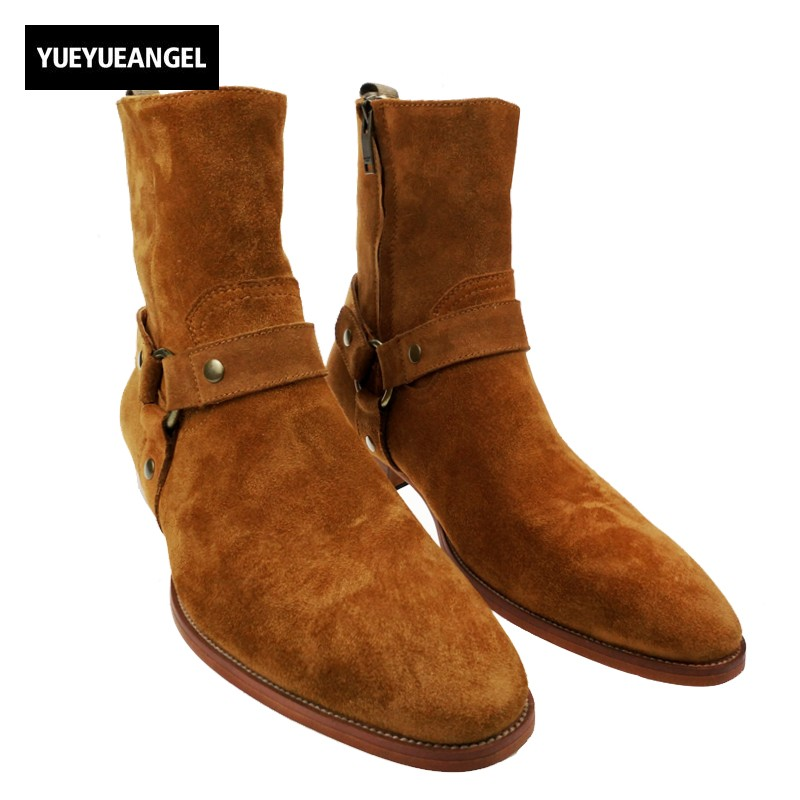 Italiy Design Fashion New Mens Pointed Toe Motor Boots Man Genuine Leather Suede Buckle Ankle Knight Cowboy Boots Shoes Plus Siz mabaiwan plicated leather men ankle boots metal pointed toe mens dress shoes rivet high top military cowboy boots man footwear