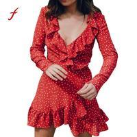 Spring Summer Autumn Dresses Female Chiffon Women Summer Ruffles V Neck Mini Dress Beach Party Daily