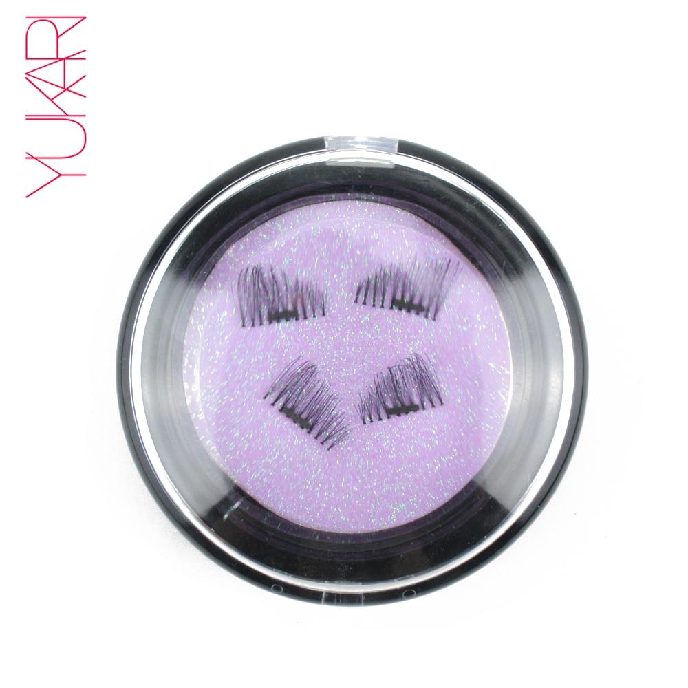 YUKARI 4PCS 3D mágneses hamis szempillák alkotják a félig kézzel készített cilios magnetos mágnes EyeLash Mink újrahasznosítható szempillát vastagabb