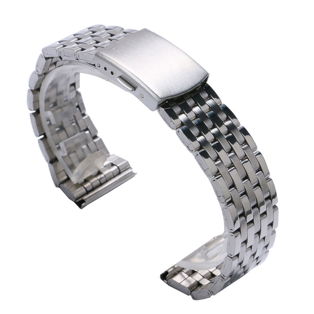 18mm/20 mm/22mm Silver Stainless Steel Watch Strap Band With 2 Spring Bars For Wrist Watches
