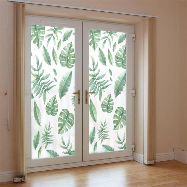 Window frosted glass sticker green plant type diy cuttable light blocking window glass bathroom home decor