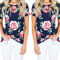 New Fashion Women Summer Spring Vintage Casual Round Neck Short Sleeve Floral Printed T-shirt