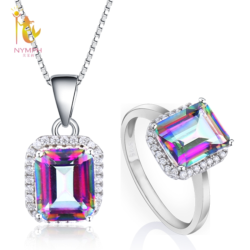 NYMPH Natural Gemstone Jewelry Sets For Women Fine Jewelry Crystal Topaz Ring Necklace Pendant 925 Silver Gift Vintage T237DJNYMPH Natural Gemstone Jewelry Sets For Women Fine Jewelry Crystal Topaz Ring Necklace Pendant 925 Silver Gift Vintage T237DJ