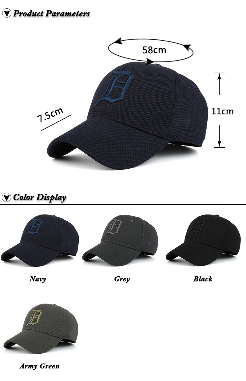 Embroidered Letter D and Baseball Fitted Baseball Cap - Product Parameters and Available Color Options