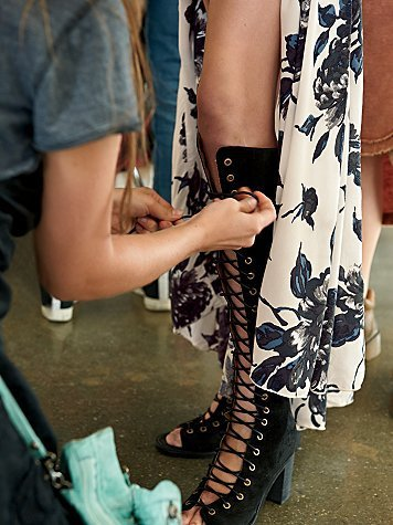 1b1ca901d32 Black Leather Hollow Out Women s Long Boots Chunky Heels Tall Gladiator  Sandals Knee High Botines Mujer Roman Lace-up Bota Neve