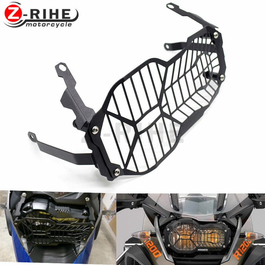 For Black Mesh Grill Motorbike Headlight Guard Aluminum Motorcycle Lighting Cover Protector For BMW R1200GS Adventure 2013-2016 motorcycle radiator protective cover grill guard grille protector for kawasaki z1000sx ninja 1000 2011 2012 2013 2014 2015 2016