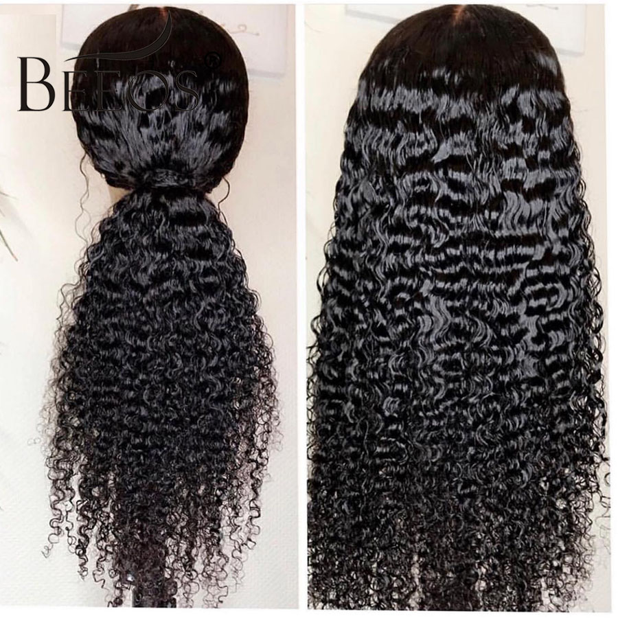 Beeos Curly Wig Brazilian Pre Plucked 13 6 Lace Front Human Hair Wigs With Baby Hair