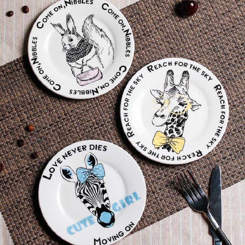 Ceramic Plates Funny Cartoon Animals 6 Inch Dinnerware