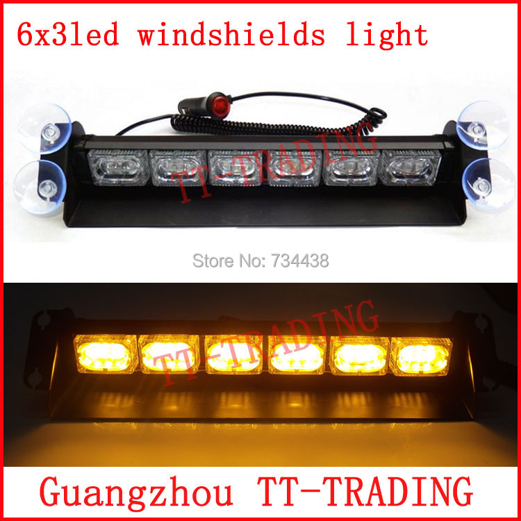 18 LED police Strobe Lights car Dash board Windshields lamp Emergency light Car Truck Light DC12V RED BLUE WHITE AMBER GREEN