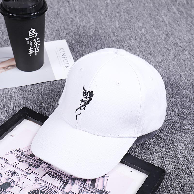 Canjoyn Women men Baseball Cap Angel wings caps Embroidered personality  Black white baseball hat -in Baseball Caps from Apparel Accessories on ... 27fe54841eb3