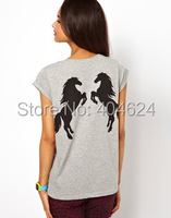 Hot New Summer Brief Style Back Double Horses Print O Neck Short Sleeve Grey Front Solid