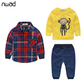 Brand Plaid Baby Boy Clothes 2017 Fashion Monkey Print Baby Clothing Suit  Baby Kids Long Sleeve Clothes Set 3PCS/ Set FF063