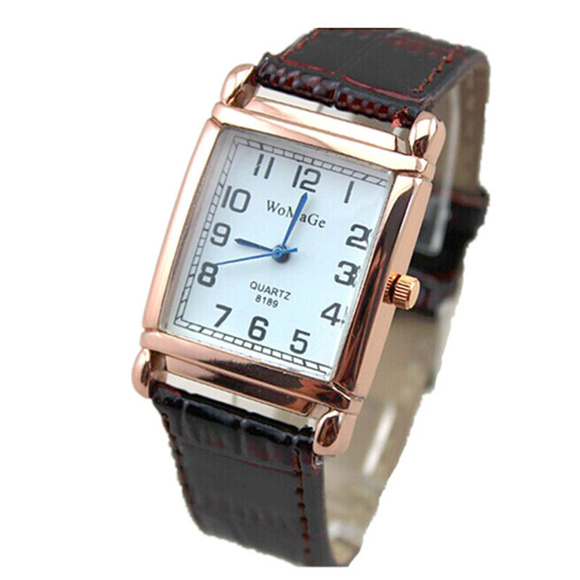 00756b0ab top Lady fashion leather band watch womage brand quartz watch luxury rose gold  square dial women casual bracelet wristwatches