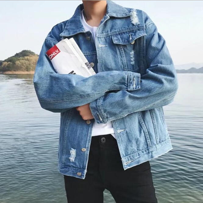 2018 spring autumn Hong Kong style hole denim jacket man Korean version of the loose trend wild student fashion casual jackets