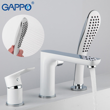 купить GAPPO Split Type White Lacquered Bathtub Faucet Water Tap Mixer Spray Hand Shower Head Waterfall Bathroom Tub Faucet Bath Shower по цене 4682.93 рублей