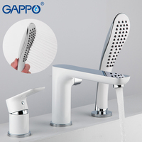 GAPPO Split Type White Lacquered Bathtub Faucet Water Tap Mixer Spray Hand Shower Head Waterfall Bathroom Tub Faucet Bath Shower