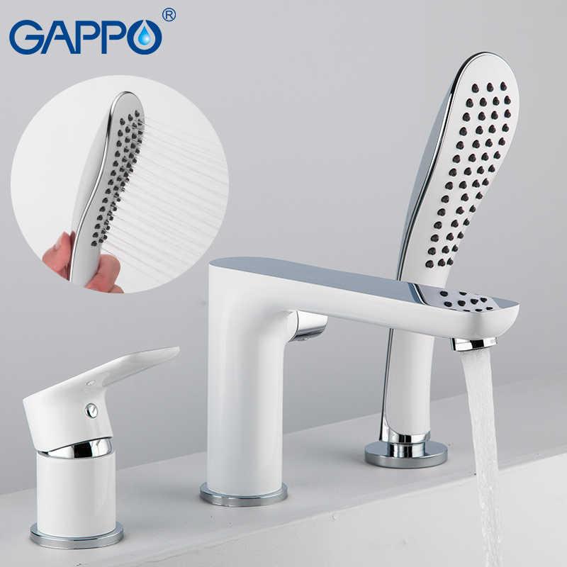 GAPPO แยกประเภทสีขาวเคลือบอ่างอาบน้ำก๊อกน้ำ TAP Mixer สเปรย์หัวฝักบัวน้ำตกห้องน้ำก๊อกน้ำอาบน้ำ
