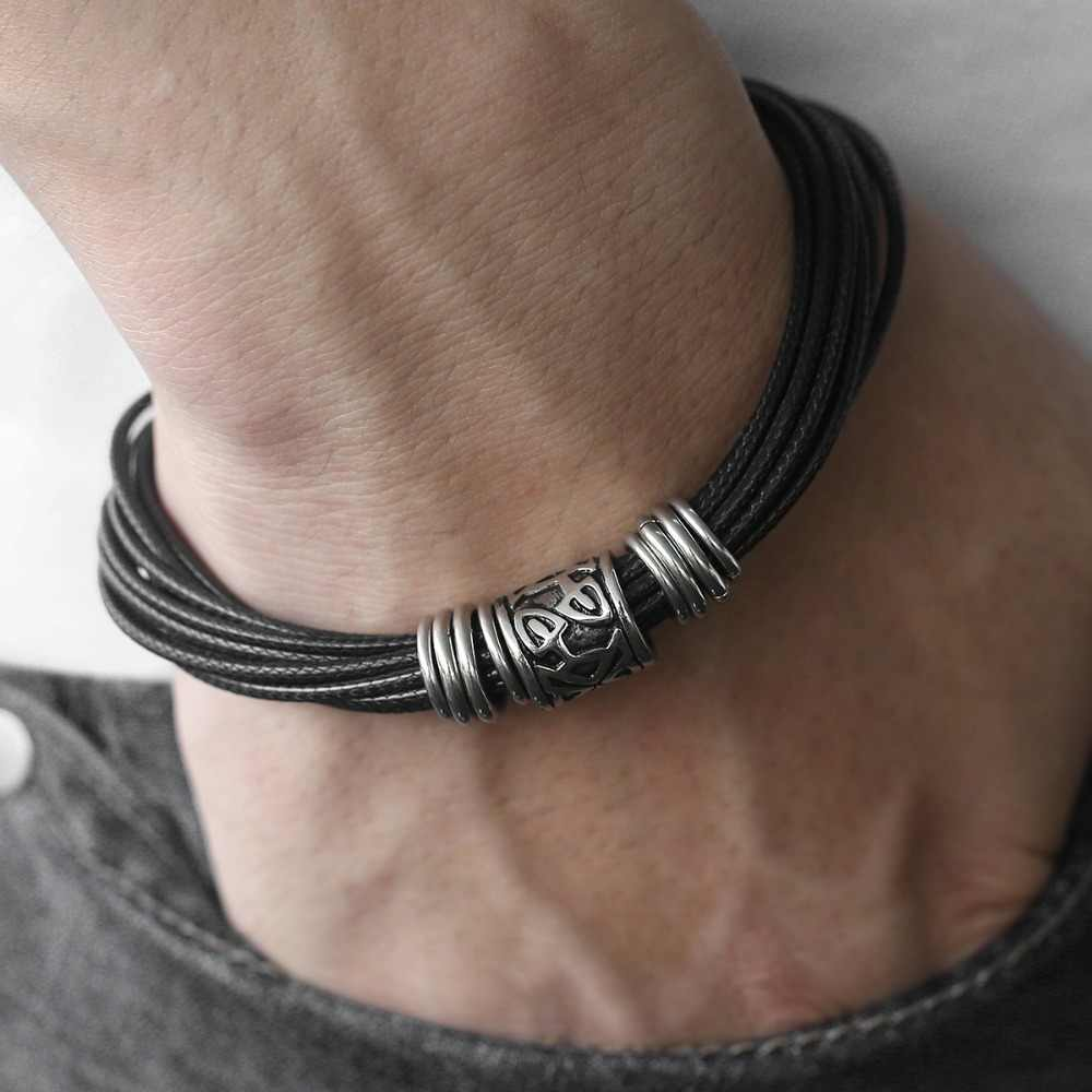 Unique Vintage Men's Black Multilayer Braided Leather Bracelet Stainless Steel Magnetic Clasp Dropshipping Male Jewelry DLB104