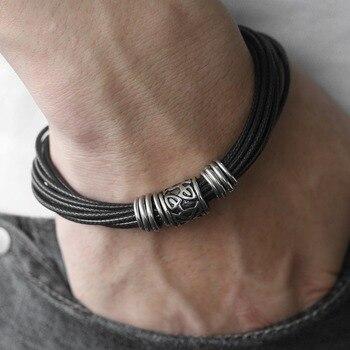 1a1a41f43658 Vintage único negro de los hombres multicapa trenzado pulsera de cuero  Cierre magnético de acero inoxidable Dropshipping. exclusivo.
