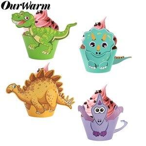 Image 2 - OurWarm, 12 Uds., envoltorio de dibujos de dinosaurio para cupcakes, decoraciones para fiesta de cumpleaños, recuerdo para niños, Decoración de mesa DIY de Dino Baby Shower, postre