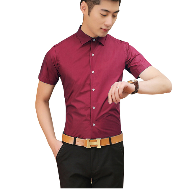 Fine Summer Solid color Short sleeve Large size Hot Sale New Clothing Clothes Costumes Uomo Men's Blouse Shirt Camisas A50