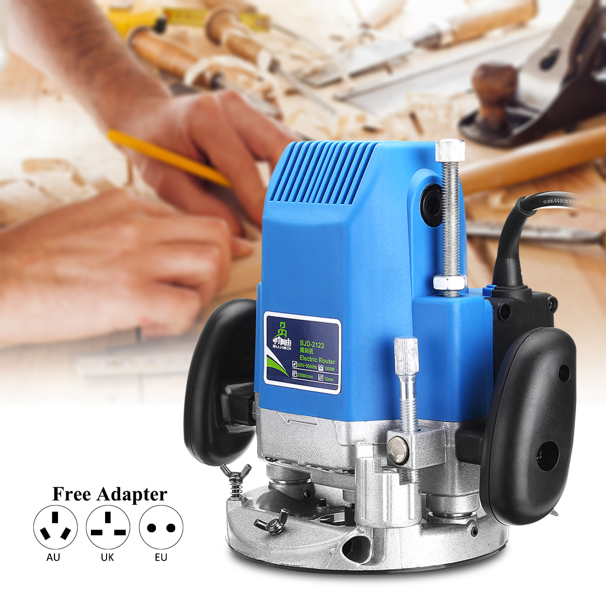 1800W 220V 1/4 Electric Trimmer Wood Router Laminate 23000RPM Woodworking Electric Trimming Router Carving Power Joiners Tool 220v high power woodworking engraving machine electric router grooving trimming machine 1800w 23000rpm