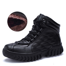 Centenary  Genuine Leather men snow boots Round Toe mens shoes Rubber military
