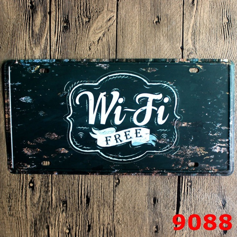 15x30 cm vintage license plates FREE WIFI FREE retro iron painting wall sticker number plate metal tin signs antique plaque
